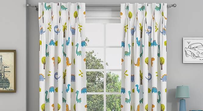 """Dino Door Curtains - Set Of 2 (112 x 213 cm  (44"""" x 84"""") Curtain Size) by Urban Ladder - Cross View Design 1 - 327006"""