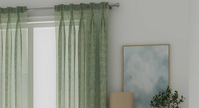 "Elegance Sheer Window Curtains - Set Of 2 (112 x 152 cm  (44"" x 60"") Curtain Size, Duckegg Blue) by Urban Ladder - Front View Design 1 - 327026"