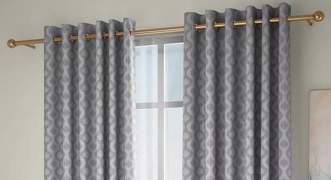 """Elite Window Curtains - Set Of 2 (Grey, 112 x 152 cm  (44"""" x 60"""") Curtain Size) by Urban Ladder - Front View Design 1 - 327073"""