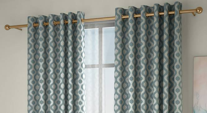 """Elite Window Curtains - Set Of 2 (112 x 152 cm  (44"""" x 60"""") Curtain Size, Bottle Green) by Urban Ladder - Front View Design 1 - 327076"""