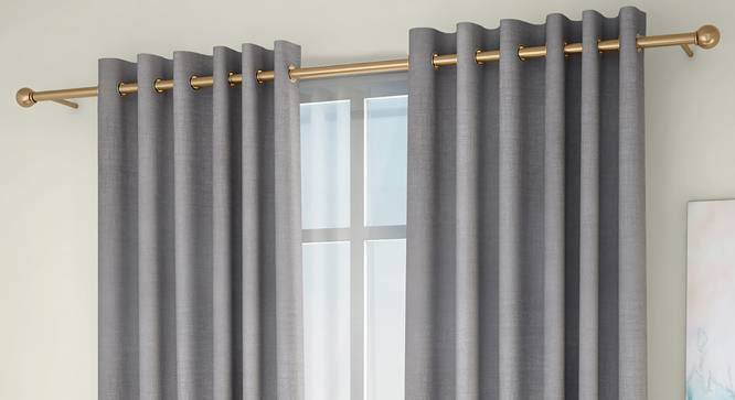 "Frizzle Door Curtains - Set Of 2 (Grey, 112 x 213 cm  (44"" x 84"") Curtain Size) by Urban Ladder - Front View Design 1 - 327098"
