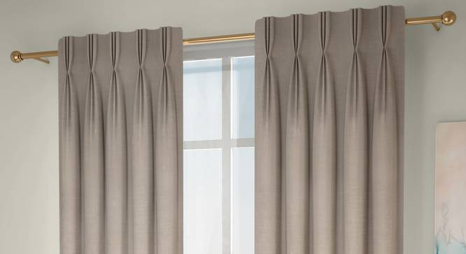 "Frizzle Door Curtains - Set Of 2 (Beige, 112 x 274 cm  (44"" x 108"") Curtain Size) by Urban Ladder - Front View Design 1 - 327101"