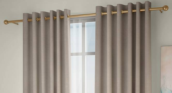 "Frizzle Door Curtains - Set Of 2 (Beige, 112 x 274 cm  (44"" x 108"") Curtain Size) by Urban Ladder - Front View Design 1 - 327104"