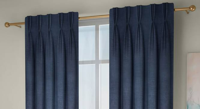 "Frizzle Door Curtains - Set Of 2 (Blue, 112 x 274 cm  (44"" x 108"") Curtain Size) by Urban Ladder - Front View Design 1 - 327107"