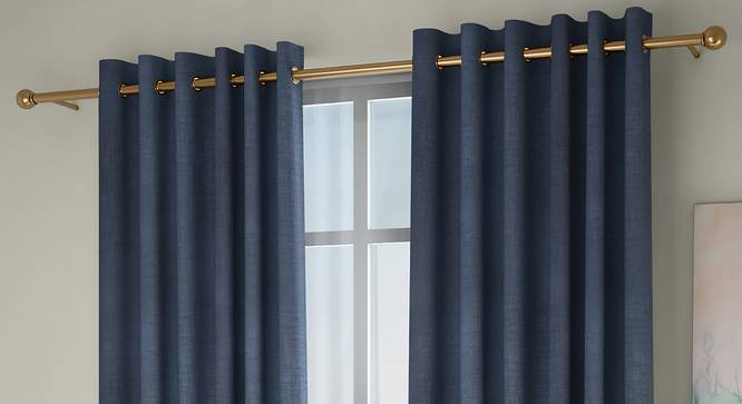 "Frizzle Door Curtains - Set Of 2 (Blue, 112 x 274 cm  (44"" x 108"") Curtain Size) by Urban Ladder - Front View Design 1 - 327110"