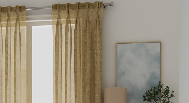 """Elegance Sheer Door Curtains - Set Of 2 (Dull Gold, 112 x 274 cm  (44"""" x 108"""") Curtain Size) by Urban Ladder - Front View Design 1 - 327143"""