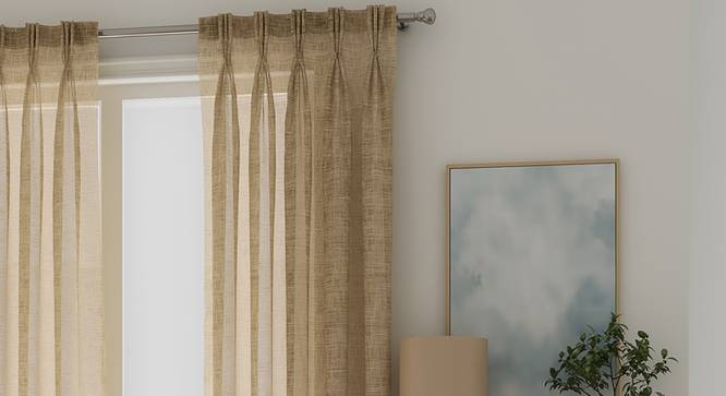 "Elegance Sheer Window Curtains - Set Of 2 (Natural, 112 x 152 cm  (44"" x 60"") Curtain Size) by Urban Ladder - Cross View Design 1 - 327161"