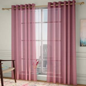"Vegas Sheer Door Curtains - Set Of 2 (Pink, 112 x 213 cm  (44"" x 84"") Curtain Size) by Urban Ladder - Design 1 - 327195"