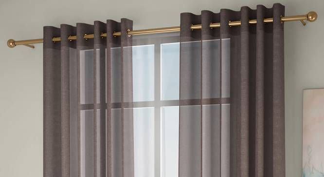 """Vegas Sheer Window Curtains - Set Of 2 (Beige, 112 x 152 cm  (44"""" x 60"""") Curtain Size) by Urban Ladder - Front View Design 1 - 327204"""