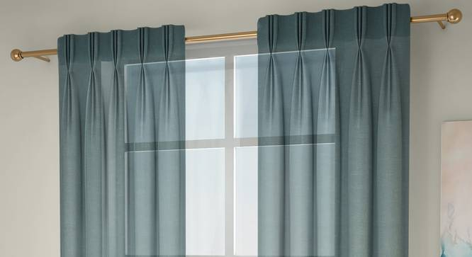 """Vegas Sheer Window Curtains - Set Of 2 (112 x 152 cm  (44"""" x 60"""") Curtain Size, Bottle Green) by Urban Ladder - Front View Design 1 - 327207"""