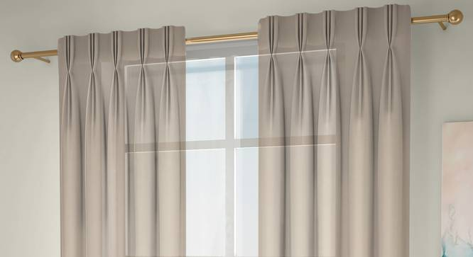 """Vegas Sheer Window Curtains - Set Of 2 (Cream, 112 x 152 cm  (44"""" x 60"""") Curtain Size) by Urban Ladder - Front View Design 1 - 327213"""