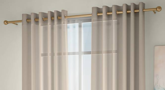 """Vegas Sheer Window Curtains - Set Of 2 (Cream, 112 x 152 cm  (44"""" x 60"""") Curtain Size) by Urban Ladder - Front View Design 1 - 327216"""