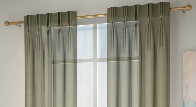 """Vegas Sheer Window Curtains - Set Of 2 (Lime Green, 112 x 152 cm  (44"""" x 60"""") Curtain Size) by Urban Ladder - Front View Design 1 - 327225"""