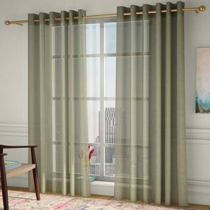 """Vegas Sheer Window Curtains - Set Of 2 (Lime Green, 112 x 152 cm  (44"""" x 60"""") Curtain Size) by Urban Ladder - Design 1 - 327227"""