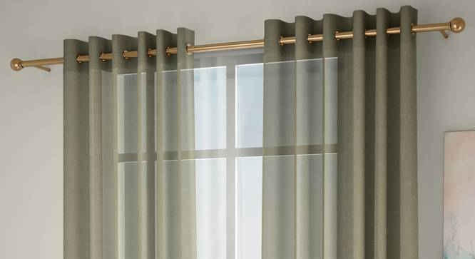 """Vegas Sheer Window Curtains - Set Of 2 (Lime Green, 112 x 152 cm  (44"""" x 60"""") Curtain Size) by Urban Ladder - Front View Design 1 - 327228"""