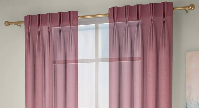 """Vegas Sheer Window Curtains - Set Of 2 (Pink, 112 x 152 cm  (44"""" x 60"""") Curtain Size) by Urban Ladder - Front View Design 1 - 327231"""
