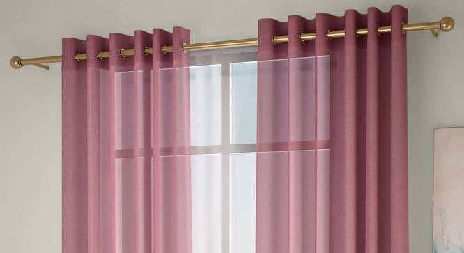 """Vegas Sheer Window Curtains - Set Of 2 (Pink, 112 x 152 cm  (44"""" x 60"""") Curtain Size) by Urban Ladder - Front View Design 1 - 327234"""