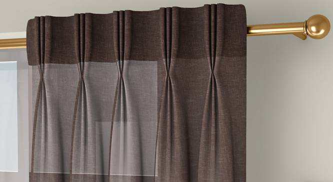 """Vegas Sheer Door Curtains - Set Of 2 (Beige, 112 x 274 cm  (44"""" x 108"""") Curtain Size) by Urban Ladder - Front View Design 1 - 327241"""
