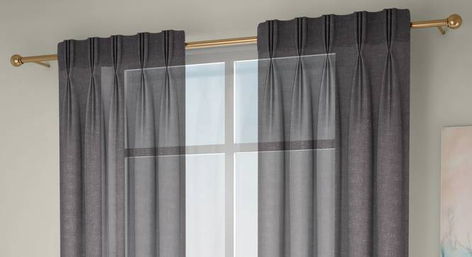 """Vegas Sheer Door Curtains - Set Of 2 (Grey, 112 x 274 cm  (44"""" x 108"""") Curtain Size) by Urban Ladder - Front View Design 1 - 327259"""