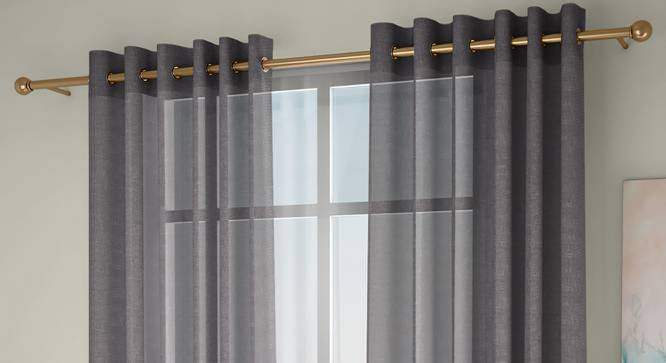 """Vegas Sheer Door Curtains - Set Of 2 (Grey, 112 x 274 cm  (44"""" x 108"""") Curtain Size) by Urban Ladder - Front View Design 1 - 327262"""