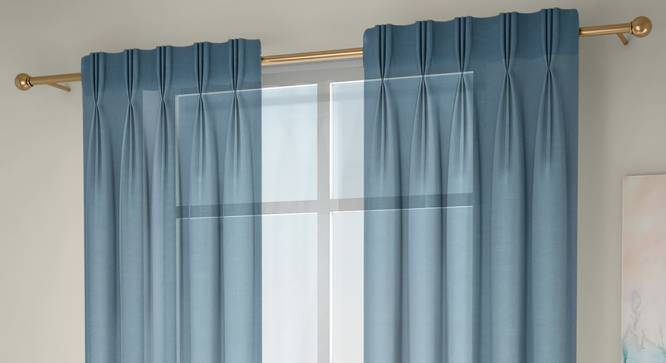 """Vegas Sheer Door Curtains - Set Of 2 (Turquoise, 112 x 274 cm  (44"""" x 108"""") Curtain Size) by Urban Ladder - Front View Design 1 - 327277"""