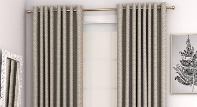 "Gardenia Door Curtains - Set Of 2 (Brown, 132 x 213 cm  (52"" x 84"") Curtain Size, Eyelet Pleat) by Urban Ladder - Front View Design 1 - 327330"