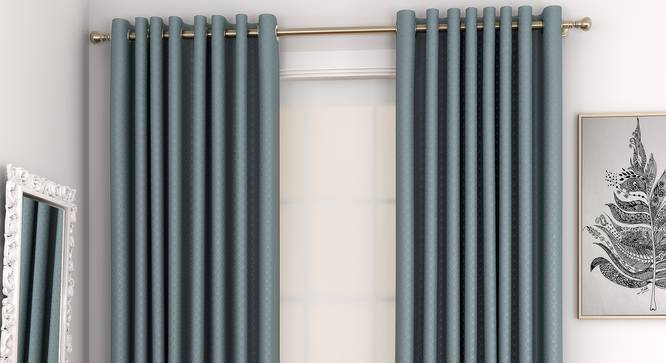 """Gardenia Window Curtains - Set Of 2 (Blue, 132 x 152 cm  (52"""" x 60"""") Curtain Size, Eyelet Pleat) by Urban Ladder - Front View Design 1 - 327336"""