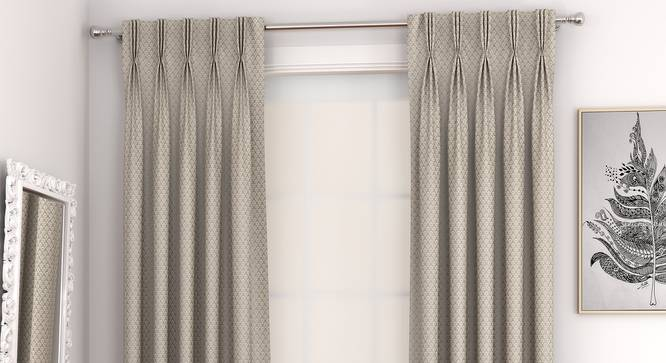"""Gardenia Window Curtains - Set Of 2 (Brown, 71 x 152 cm (28""""x60"""") Curtain Size, American Pleat) by Urban Ladder - Front View Design 1 - 327339"""