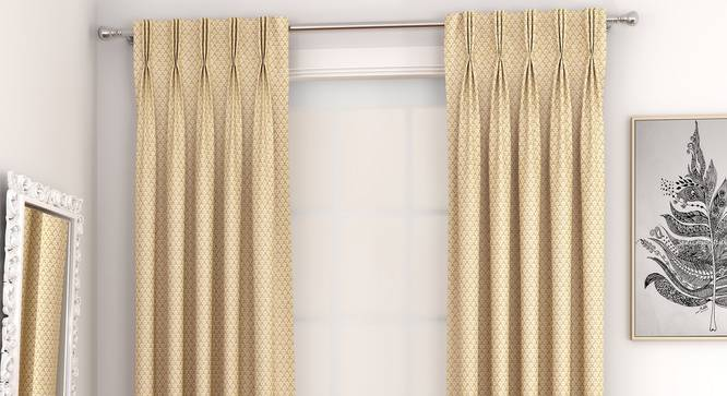 """Gardenia Window Curtains - Set Of 2 (Gold, 71 x 152 cm (28""""x60"""") Curtain Size, American Pleat) by Urban Ladder - Front View Design 1 - 327355"""