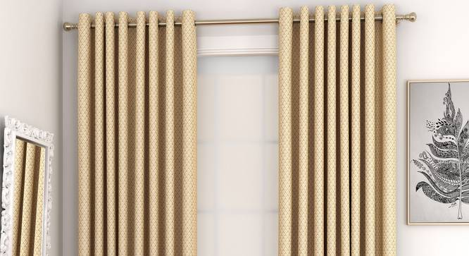 """Gardenia Window Curtains - Set Of 2 (Gold, 132 x 152 cm  (52"""" x 60"""") Curtain Size, Eyelet Pleat) by Urban Ladder - Front View Design 1 - 327358"""
