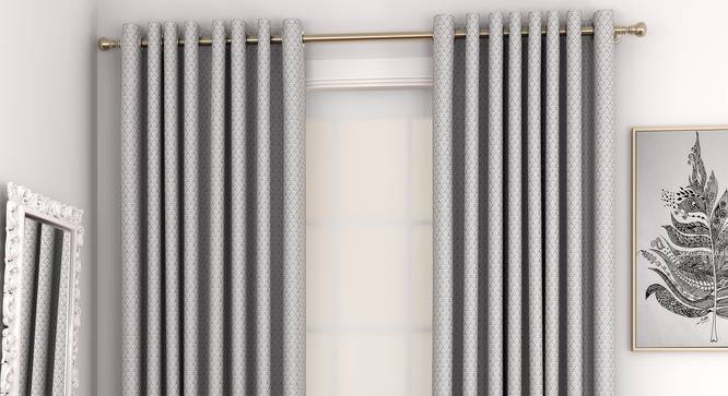 "Gardenia Door Curtains - Set Of 2 (Grey, 132 x 213 cm  (52"" x 84"") Curtain Size, Eyelet Pleat) by Urban Ladder - Front View Design 1 - 327362"
