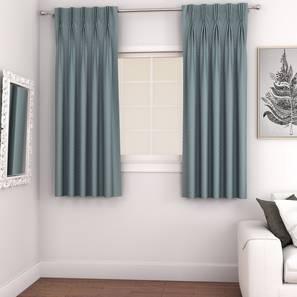 "Gardenia Door Curtains - Set Of 2 (Blue, 71 x 274 cm (28""x108"")  Curtain Size, American Pleat) by Urban Ladder - Design 1 - 327370"