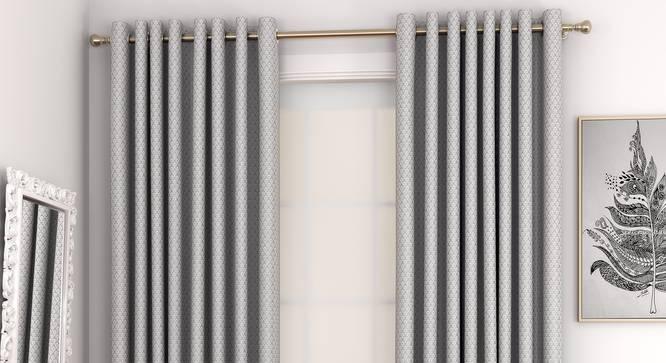 "Gardenia Window Curtains - Set Of 2 (Grey, 132 x 152 cm  (52"" x 60"") Curtain Size, Eyelet Pleat) by Urban Ladder - Front View Design 1 - 327377"