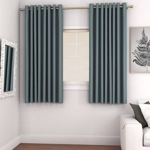 "Gardenia Door Curtains - Set Of 2 (Blue, 132 x 274 cm  (52""x108"") Curtain Size, Eyelet Pleat) by Urban Ladder - Front View Design 1 - 327373"