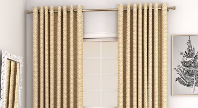 """Gardenia Door Curtains - Set Of 2 (Gold, 132 x 274 cm  (52""""x108"""") Curtain Size, Eyelet Pleat) by Urban Ladder - Front View Design 1 - 327397"""