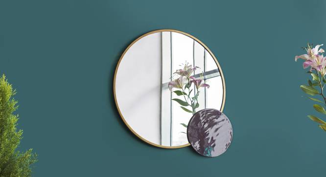 Metropolis Duo Mirror (Gold poowdercoating and Burgundy enamelling) by Urban Ladder - Design 1 Top View - 327435