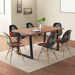 Aquila - DSW 6 Seater Dining Table Set (Teak Finish, Patchwork) by Urban Ladder - Design 1 - 327473