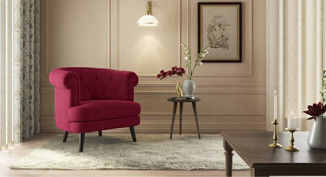 Bardot Lounge Chair (Fuschia Red Velvet) by Urban Ladder - Design 1 Details - 328222