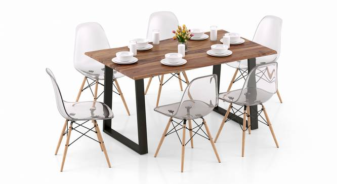 Aquila - DSW 6 Seater Dining Table Set (Teak Finish, Clear) by Urban Ladder - Design 1 Top View - 328303
