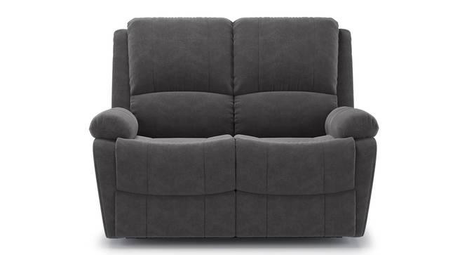 Lebowski Recliner (Two Seater, Smoke Fabric) by Urban Ladder - Front View - 328315