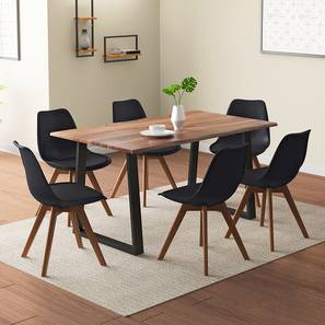 Aquila - Pashe 6 Seater Dining Table Set (Teak Finish, Black) by Urban Ladder - Design 1 Details - 328414