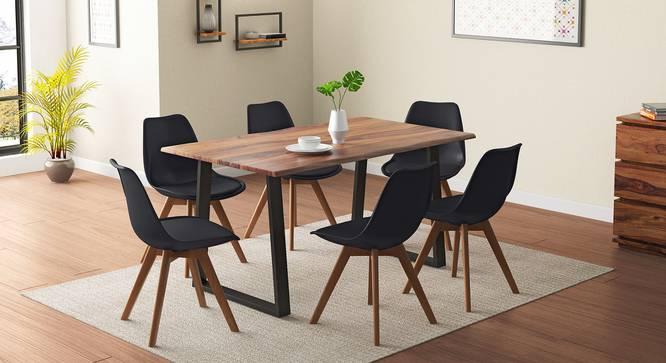 Aquila - Pashe 6 Seater Dining Table Set (Teak Finish, Black) by Urban Ladder - Design 1 Details - 328414