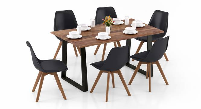 Aquila - Pashe 6 Seater Dining Table Set (Teak Finish, Black) by Urban Ladder - Design 1 Top View - 328415