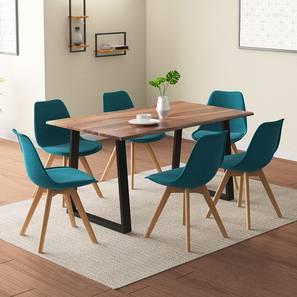 Aquila - Pashe 6 Seater Dining Table Set (Teak Finish, Teal) by Urban Ladder - Design 1 Details - 328425