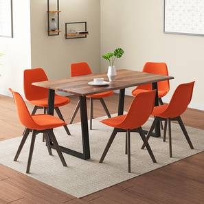 Aquila - Pashe 6 Seater Dining Table Set (Teak Finish, Rust) by Urban Ladder - Design 1 Details - 328436