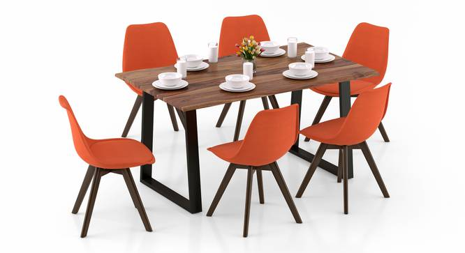 Aquila - Pashe 6 Seater Dining Table Set (Teak Finish, Rust) by Urban Ladder - Design 1 Top View - 328437