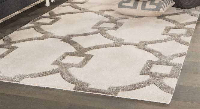"""Aabaad Hand Tufted Carpet (244 x 305 cm  (96"""" x 120"""") Carpet Size, Antique White) by Urban Ladder - Front View Design 1 - 328792"""