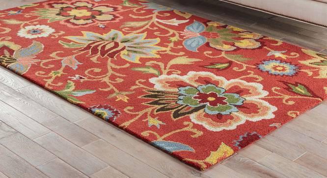 "Kawish Hand Tufted Carpet (122 x 183 cm  (48"" x 72"") Carpet Size, Velvet Red) by Urban Ladder - Front View Design 1 - 328869"