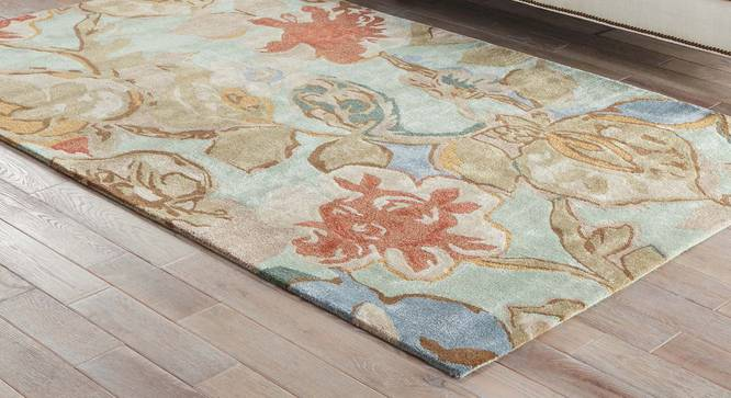 "Resham Hand Tufted Carpet (122 x 183 cm  (48"" x 72"") Carpet Size, Aqua Foam) by Urban Ladder - Front View Design 1 - 329012"