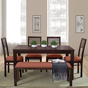 Oribi Upholstered Dining Bench (Mahogany Finish, Burnt Orange) by Urban Ladder - Design 1 Details - 329088